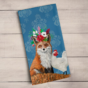 "Tea towel, Fox, Rooster,  Heather Gauthier, decorative, 21""x 28"",  100% Cotton"