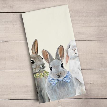 """Tea towel, baby bunny, bunch, Cathy Walters, decorative, 21""""x 28"""",  100% Cotton"""