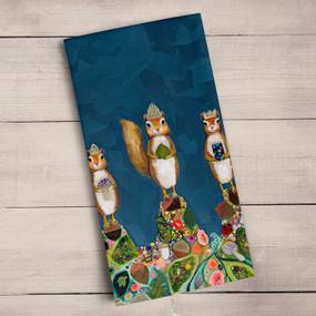 "Tea towel, squirell, royale, crown, Eli Halpin, decorative, 21""x 28"",  100% Cotton."