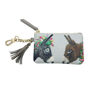 Pouch, donkeys, Heather Gauthier, printed on polyurethane, fabric lined interior, vegan leather, 5x3.5
