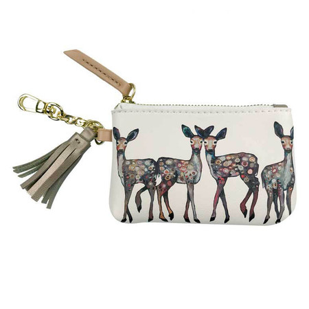 Pouch, four fawns, deer, woodland accessory, printed on polyurethane, fabric lined interior, vegan leather, 5x3.5
