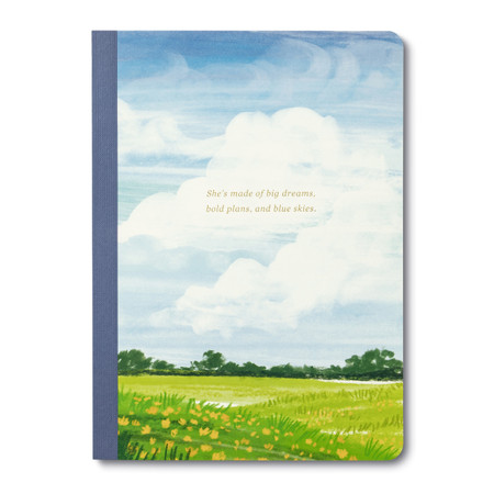 Notebook, clouds, sky, writing, words, Her Words, composition, metallic accent, FSC® forests and other controlled sources, soft cover, Size: 6.25 X 8.625