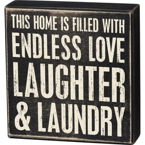 "Love and laundry box sign, 8"" x 8.25"" x 1.75"""