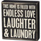 """Love and laundry box sign, 8"""" x 8.25"""" x 1.75"""""""
