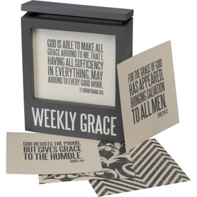"Hinged wooden box, Weekly Grace sentiment, front display window, 80 interchangable box sign style cards, 5.75"" x 6.75"" x 2.25"", Cards: 5"" x 5"""