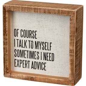 "Box sign, expert advice box sign, 5"" x 5"" x 1.75"""