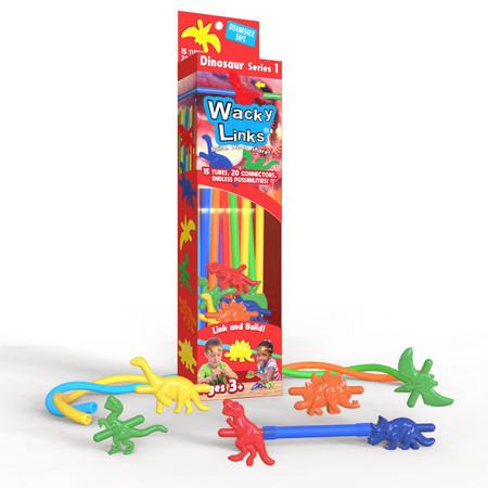 wacky links, connectors, T-rex, velociraptor, stegosaurus, pterodactyl, triceratops, brontosaurus, necklaces, backpack decorations, etc.