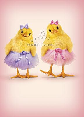 Easter card, chics, tutus, happy easter