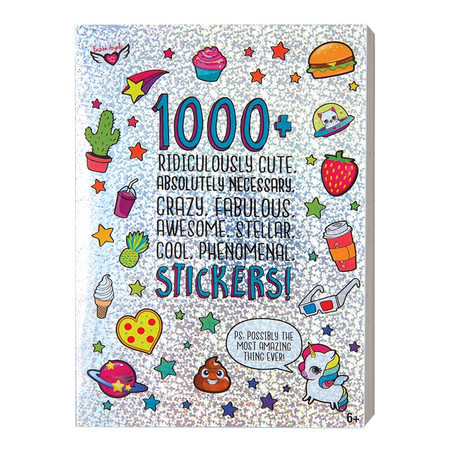 1000+ Ridiculously Cute Stickers Book, letter stickers, thought bubbles, cactus, unicorns, emojis, pizza, puppies, kitties, narwhals, decorate greeting cards, notebooks, planners, front cover, age 6+
