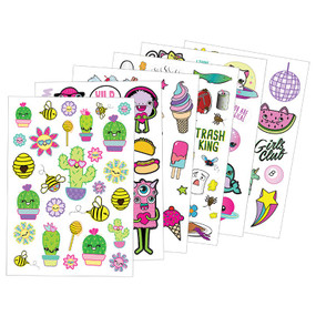 1000+ Ridiculously Cute Stickers Book, letter stickers, thought bubbles, cactus, unicorns, emojis, pizza, puppies, kitties, narwhals, decorate greeting cards, notebooks, planners, inside, age 6+