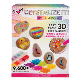Rock kit, crystals, design, embellish rocks, 12 dazzling colors, gem like chips, work tray, painting tool, adhesive and sticky wax, template designs, Recommended ages 8+, front