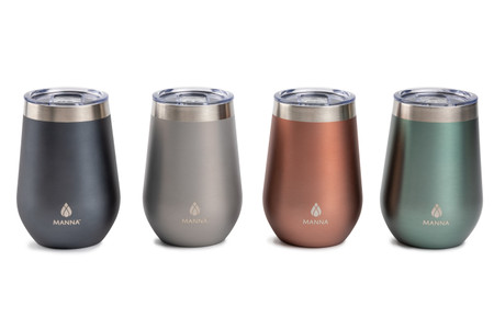Muted metallic stemless tumblers, water, wine, cold drinks, hot drinks, double-wall, stainless steel, lid with rubber seal,12 hours, stainless steel, BPA Free Lid.