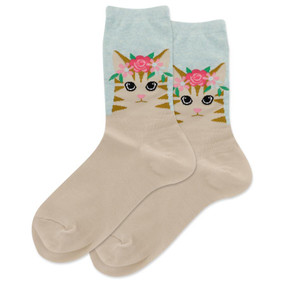 Socks, women's, cat, floral, crown, Fits Women's Shoe Size 4 - 10 1/2