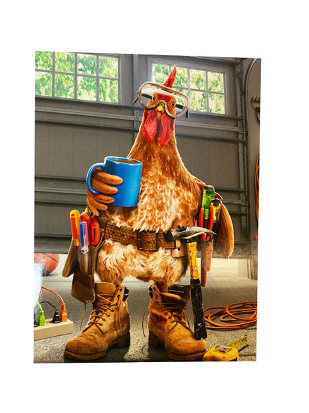 Greeting card, happy father's day, rooster, home improvement
