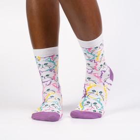 Socks, women's, cat, fur, 56% Cotton, 42% Polyester, 2% Spandex, women's shoe size 5-10