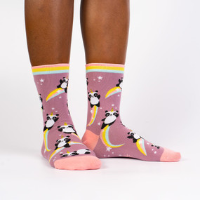Socks, women's, panda, unicorn, 54% Cotton, 44% Polyester, 2% Elastane, women's shoe size 5-10