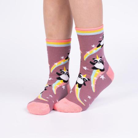 Socks, kids, children, panda, unicorn, 62% Cotton, 29% Polyester, 7% Nylon, 2% Elastane, ages 7-10, shoe size 1-5