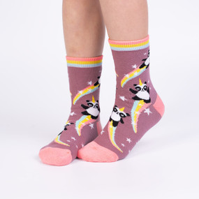 Socks, kids, children, panda, unicorn, 62% Cotton, 29% Polyester, 7% Nylon, 2% Elastane, ages 7-10, shoe size 1-5