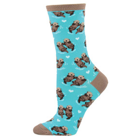 Socks, women's, otter, significant other, love, couple, 63% Cotton, 34% Nylon, 3% Lycra, sock size 9-11, shoe size 6-10