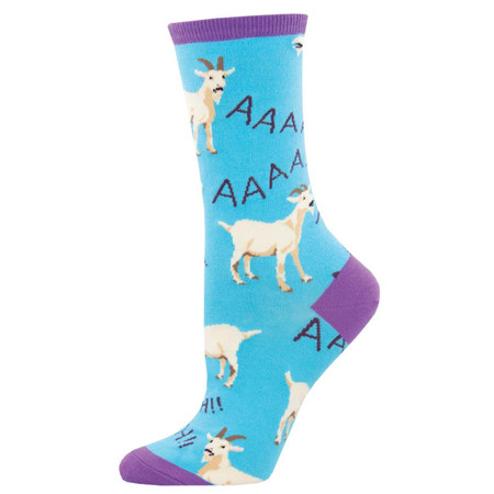 Socks, women's, goat, screaming, greatest of all time, Sock size 9-11,  U.S. women's shoe size 5-10.5, Fiber Content: 63% Cotton, 34% Nylon, 3% Spandex