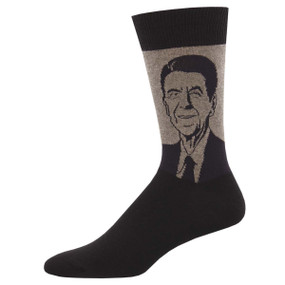 Socks, men's, Ronald Reagan, Dutch, 40th president, Sock size 10-13, U.S. men's shoe size 7-12.5, Fiber Content: 70% Cotton, 27% Nylon, 3% Spandex