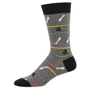 Socks, men's, power play, hockey, puck, stick, Sock size 10-13, U.S. men's shoe size 7-12.5, Fiber Content: 70% Cotton, 27% Nylon, 3% Spandex
