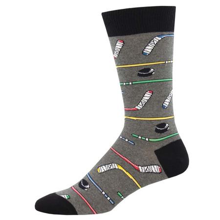 Socks, men's, power play, hockey, puck, stick, Sock size 10-13, U.S. men's shoe size 7-12.5, Fiber Content: 70% Cotton, 27% Nylon, 3% Spandex