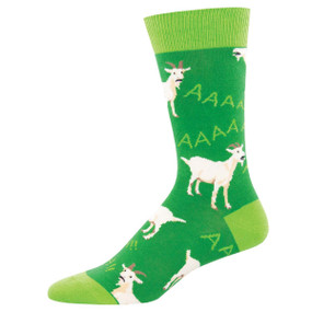 Socks, men's, goat, screaming, Sock size 10-13, U.S. men's shoe size 7-12.5 Fiber Content: 70% Cotton, 27% Nylon, 3% Spandex