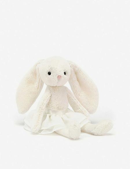 "Bunny,  arabesque, ballet, dance, cream, soft, fluffy,  10"" tall"