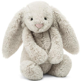 "bunny, stuffed animal, bashful, oatmeal, 7"" tall"
