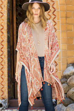 "Rust, kimono, paisley print, mini tassel accent, APPROX. L 39 1/2"" W 82 1/2"",  100% Viscose"
