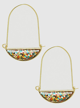 Multi glitter semicircle shape drop earrings, LENGTH: 1.5INCH