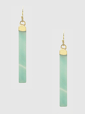 mint natural stone vertical bar drop earrings. Size: LENGTH: 2 INCH