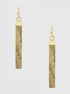 brown natural stone vertical bar drop earrings. Size: LENGTH: 2 INCH