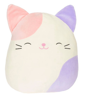 Charlotte Pink & Purple Cat, Squishmallow, plush toys, comfort, support,  couch companions, pillow pals, bedtime buddies, travel teammates buddy, children, Easter, 5""