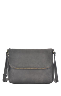 grey, handbag, purse, crossbody, fold over, front