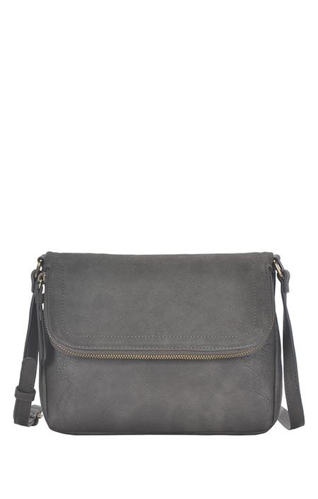 grey, handbag, purse, crossbody, fold over, front