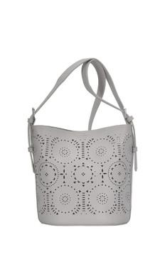 grey, patterned shoulder bag, detachable pouch, front Dimensions 12 X 9 X 6.25