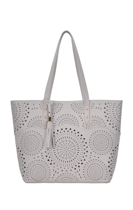 grey, patterned tote, purse, handbag, front Dimensions 18.5 X 13 X 5