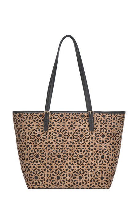 black, geometric patterned, tote, travel, front Dimensions18.5 X 12.25 X 5.5