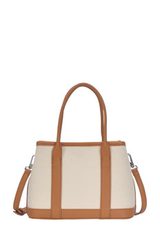 tan and cream handbag, detachable shoulder strap  Dimensions 9.5 X 6.75 X 4
