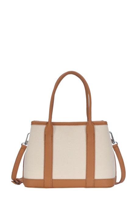 tan and cream handbag, detachable shoulder strap  Dimensions 9.5 X 6.75 X 4