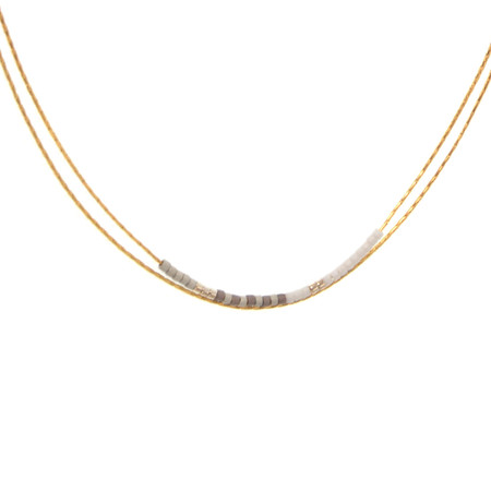 gold & white double row necklace with beads is simple and elegant and will go with every outfit. 16 plus 3″ extension