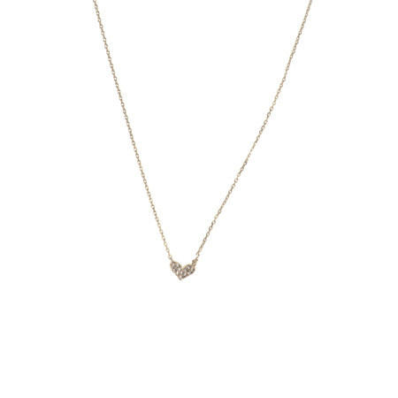 silver, simple, pave heart necklace.  16″ plus 3″ extension