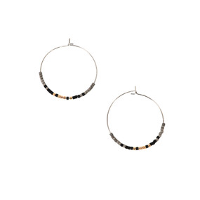 silver & black, earrings, beaded, light, hoops