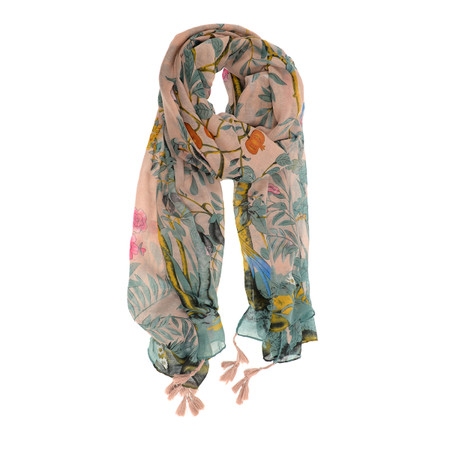 lilac, scarf, birds in paradis, floral, 180 x 90cm