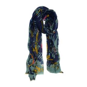 navy, scarf, birds in paradis, floral, 180 x 90cm