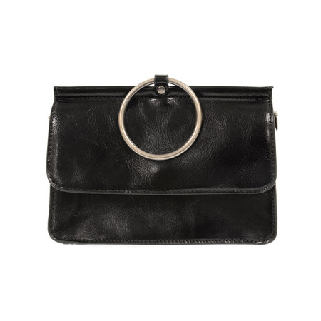 black, handbag, purse, vegan leather, adjustable and removeable crossbody strap, 6″ high, 8.25″ at widest point, 3.5″ deep at widest point, 3″ diameter of ring that can be used as a handle, Magnetic snap front closure, two open interior compartments