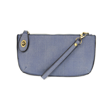 chambray, clutch, wristlet, faux linen, crossbody, vegan leather, carry-all,  wallet, 6 interior card slots, removable straps.