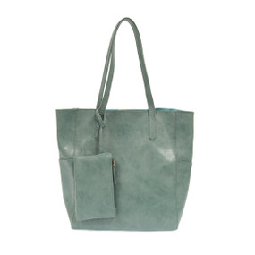 seafoam, tote, handbag, purse, 13″ (height) x 11″ (width from seam to seam) x 5.5″ (depth), coin purse, vegan leather